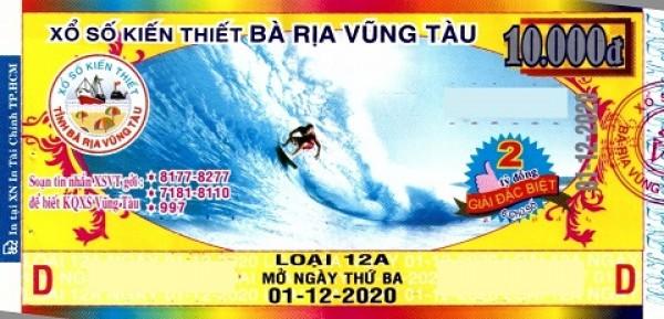 Công ty Xổ số Kiến thiết tỉnh Bà Rịa - Vũng Tàu: Công bố thông tin trả thưởng kỳ vé 12A