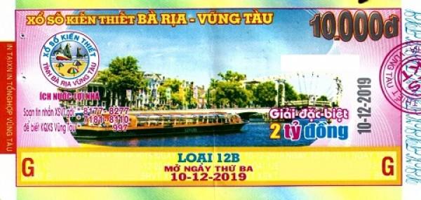 Công ty Xổ số Kiến thiết tỉnh Bà Rịa - Vũng Tàu: Công bố thông tin trả thưởng kỳ vé 12B