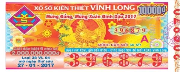 Thông tin trúng thưởng kỳ vé Vĩnh Long 38VL37 mở ngày 15/09/2017